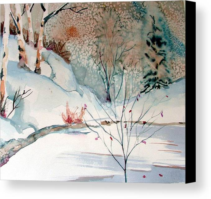 Winter Canvas Print featuring the painting An Icy Winter by Mindy Newman