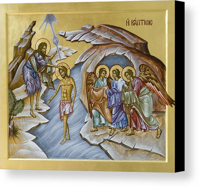 Icon Canvas Print featuring the painting Baptism by Julia Bridget Hayes