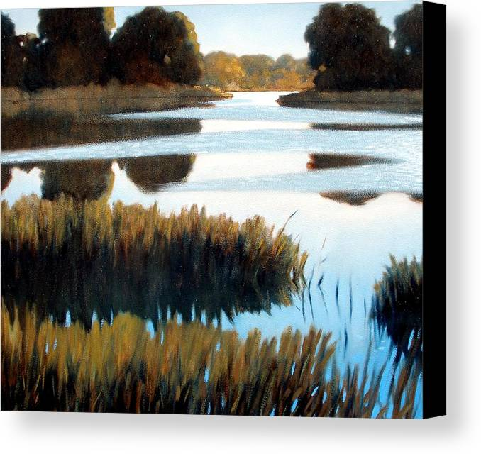 Water Canvas Print featuring the painting Black Bayou by Kevin Lawrence Leveque