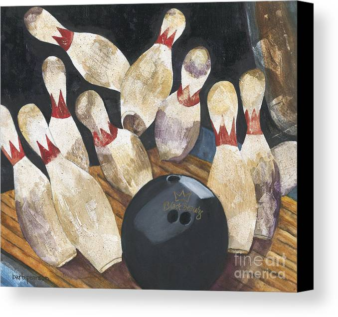 Bowling Canvas Print featuring the painting Black Beauty by Barb Pearson