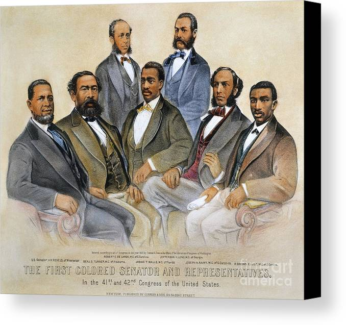 -acts & Administrations- Canvas Print featuring the photograph Black Senators, 1872 by Granger