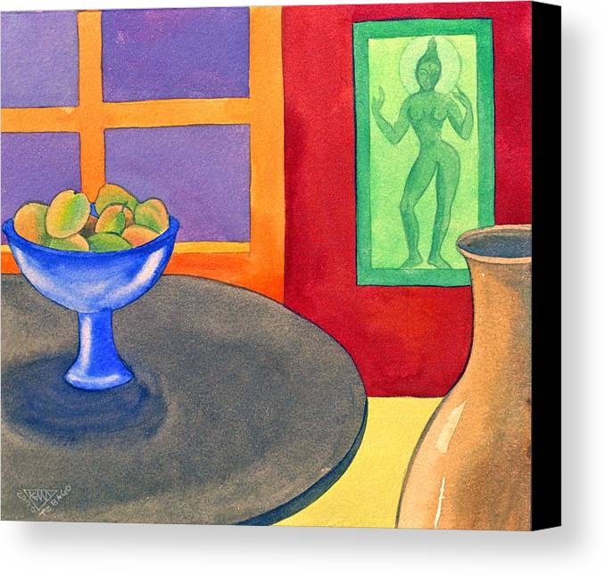 Interior Still Life Indian Deity Canvas Print featuring the painting Bowl Of Mangoes by Jennifer Baird