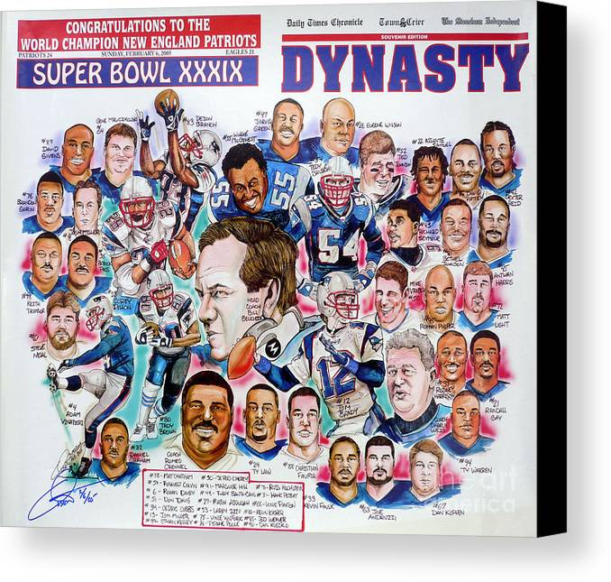 Nfl Canvas Print featuring the drawing Championship Patriots Newspaper Poster by Dave Olsen