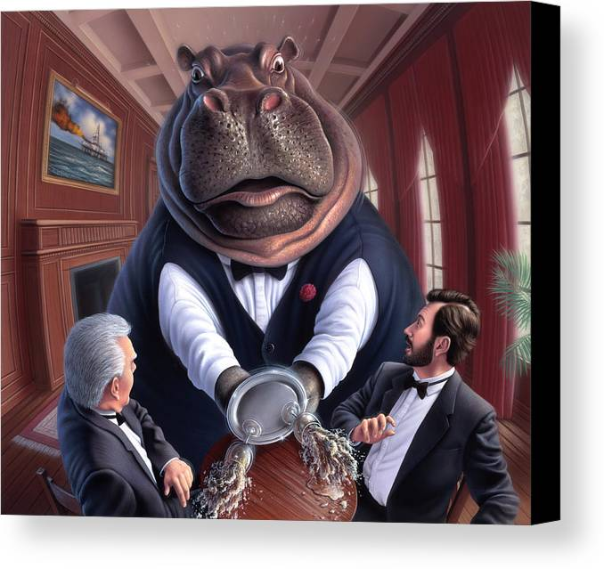 Hippo Canvas Print featuring the painting Clumsy by Jerry LoFaro