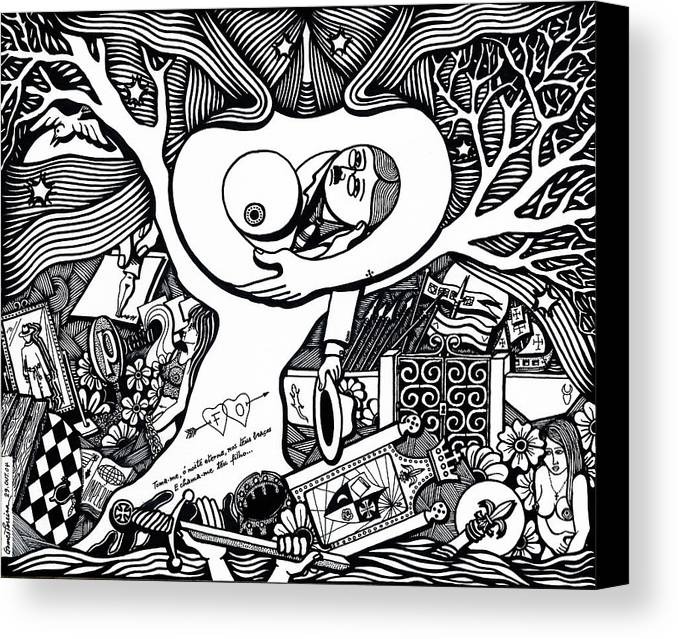 Drawing Canvas Print featuring the drawing Come Ancient And Identical Night by Jose Alberto Gomes Pereira