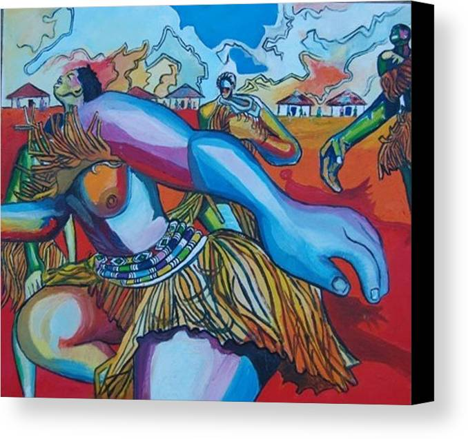 Tribal.african Canvas Print featuring the painting Dance For The Unseen by Mawetu Janda