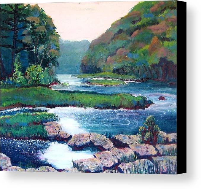 River Canvas Print featuring the painting Dawn In West Virginia by Art Nomad Sandra Hansen