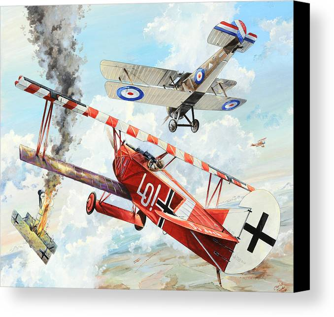 Aviation Canvas Print featuring the painting Du Doch Nicht by Charles Taylor
