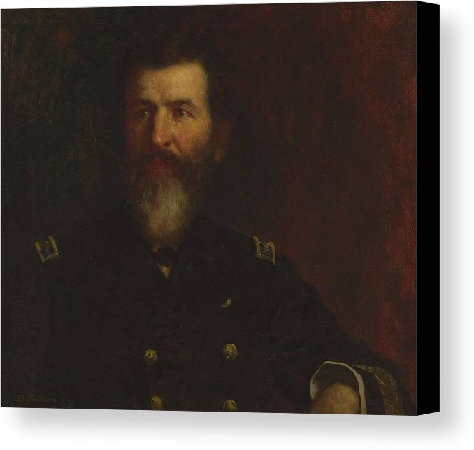 Man Canvas Print featuring the painting Eastman Johnson 1824 - 1906 Portrait Of Commodore Philip Carrigan Johnson, Jr. by Eastman Johnson
