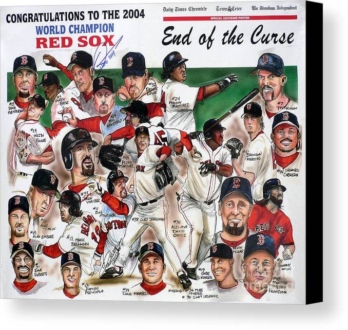 Mbl Canvas Print featuring the painting End Of The Curse Red Sox Newspaper Poster by Dave Olsen
