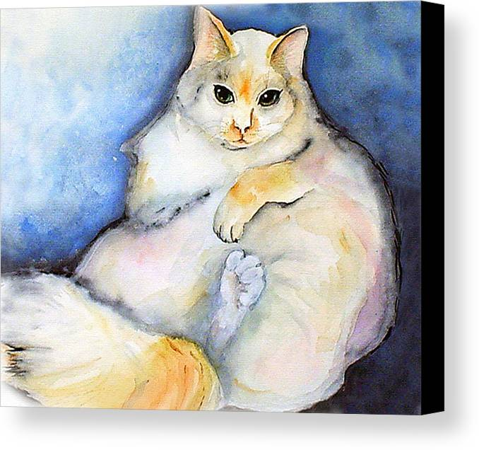 Feline Canvas Print featuring the painting Fat Cat by Gina Hall