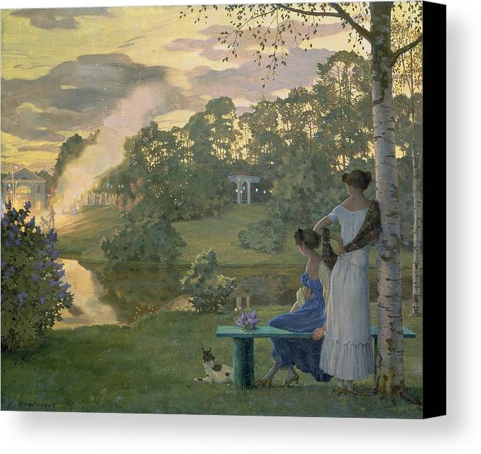 Fireworks Canvas Print featuring the painting Fireworks by Konstantin Andreevic Somov