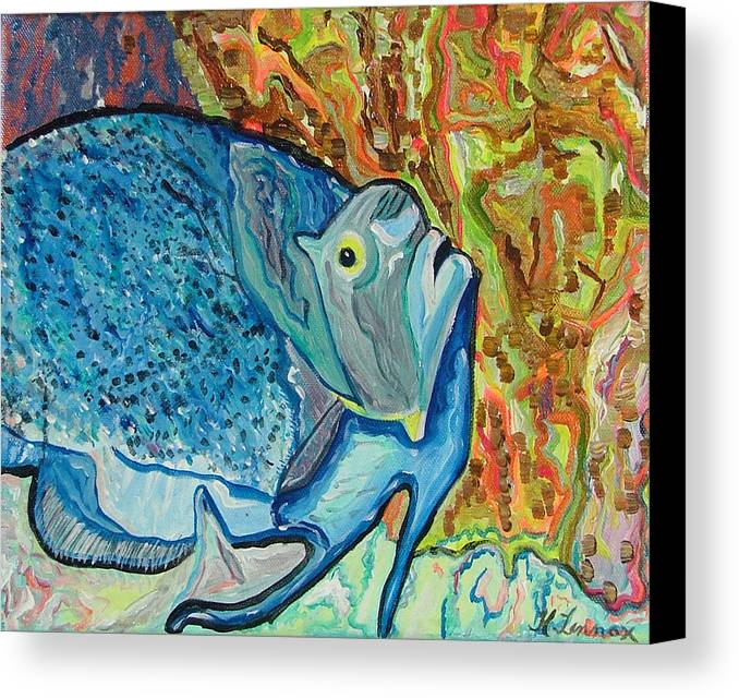 French Canvas Print featuring the painting French Angle Fish by Heather Lennox