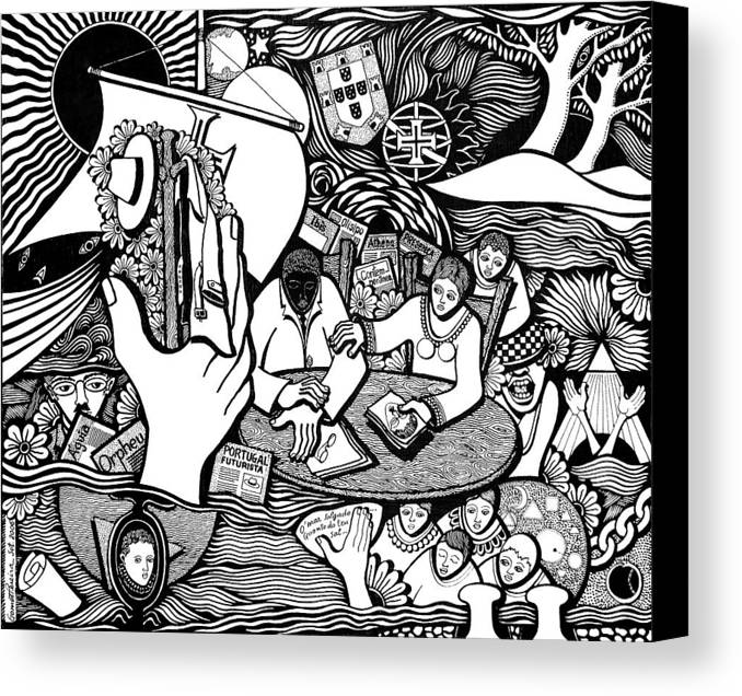 Drawing Canvas Print featuring the drawing God Wills Man Dreams The Work Is Born by Jose Alberto Gomes Pereira