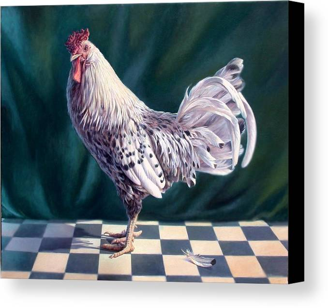 Chicken Canvas Print featuring the painting Hamburger Rooster by Hans Droog