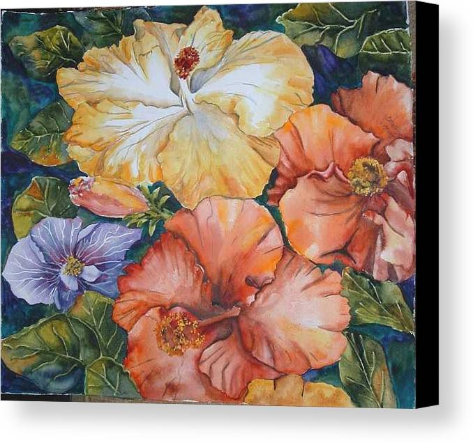 Watercolor Canvas Print featuring the painting Hibiscus by Diane Ziemski