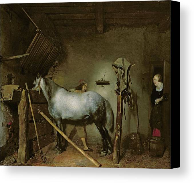 Horse Canvas Print featuring the painting Horse In A Stable by Gerard Terborch