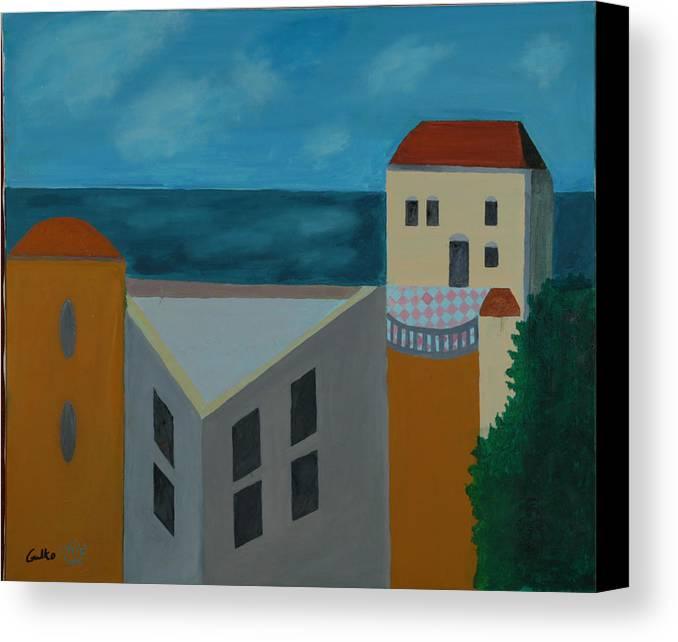 Arab Jaffa Deascape Canvas Print featuring the painting House In Jaffa by Harris Gulko