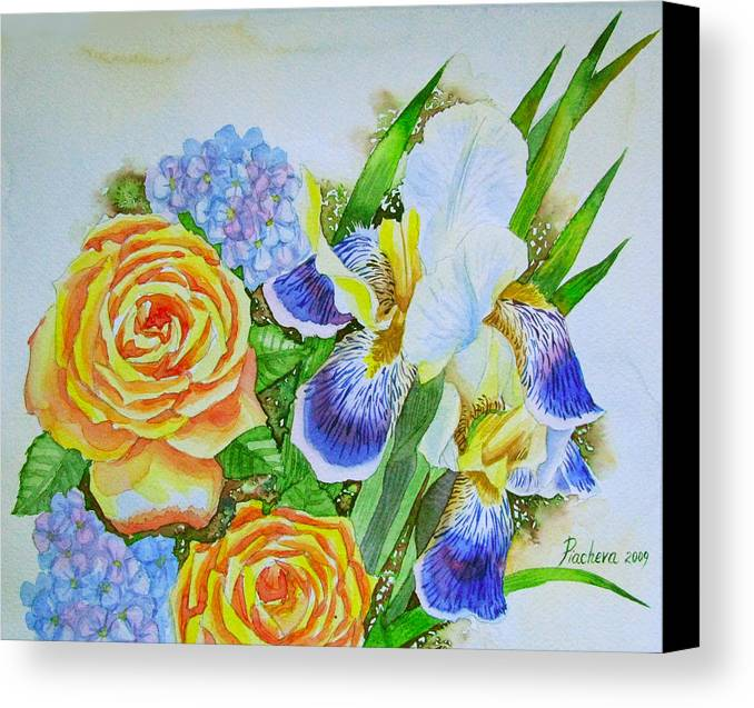 Roses Canvas Print featuring the painting Irises And Rores. by Natalia Piacheva