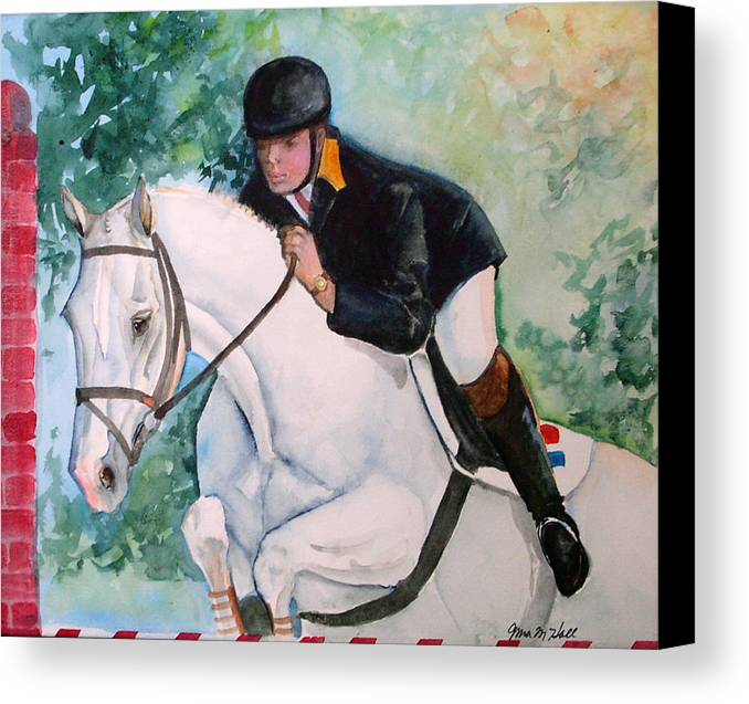Equine Canvas Print featuring the painting Jumper by Gina Hall