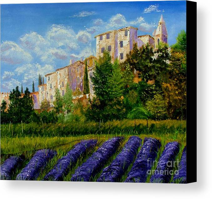 Lavander Canvas Print featuring the painting Lavander Field by Inna Montano