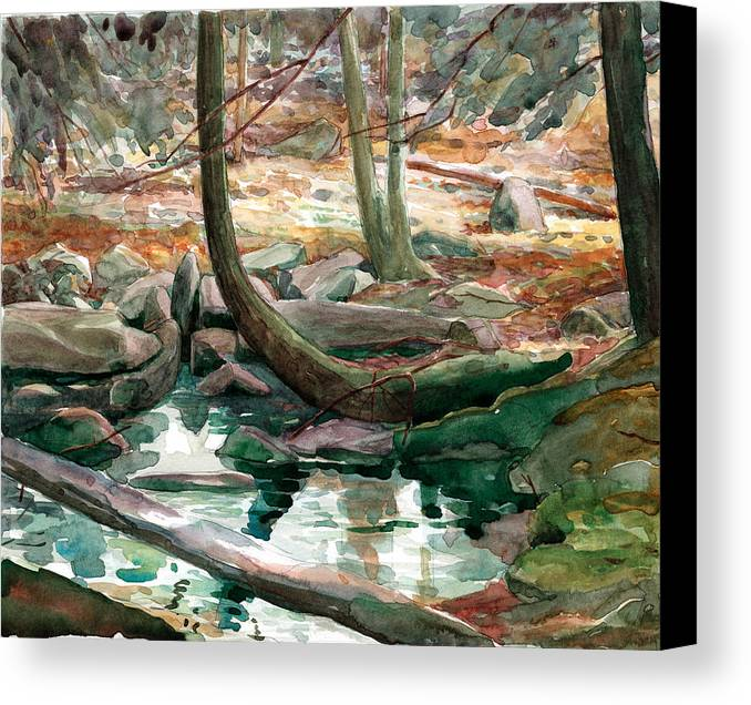 Mountain Pool Canvas Print featuring the painting Lingle Stream by Jeff Mathison