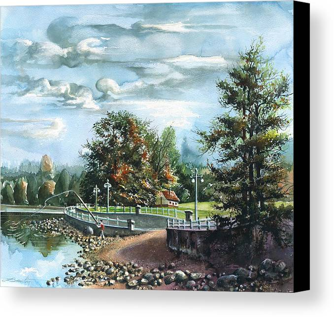 Landscape Canvas Print featuring the painting Lucky Day Rocky Point Park by Dumitru Barliga
