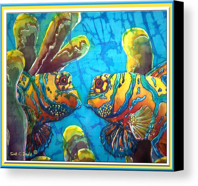 Mandarinfish Canvas Print featuring the painting Mandarinfish- Bordered by Sue Duda