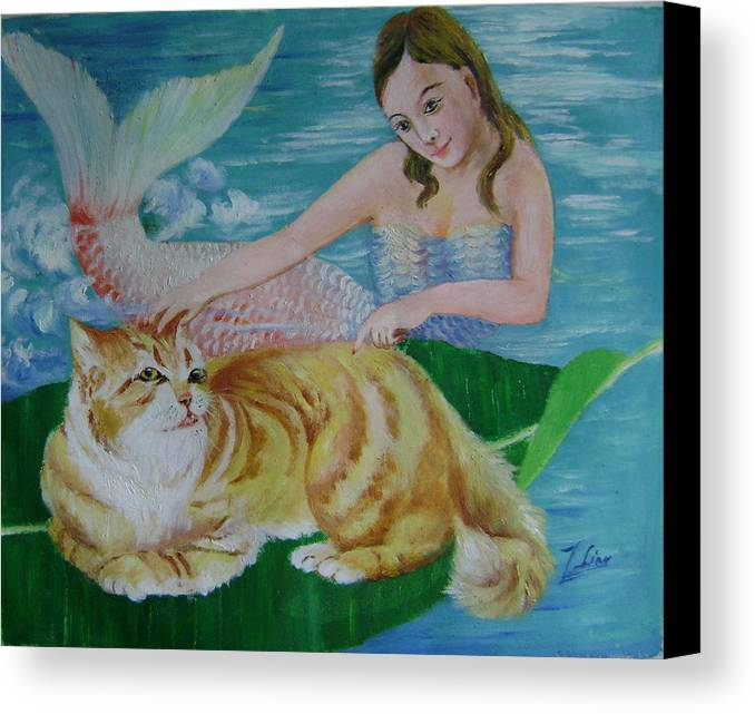 Fantasy Canvas Print featuring the painting Mermaid And Cat by Lian Zhen