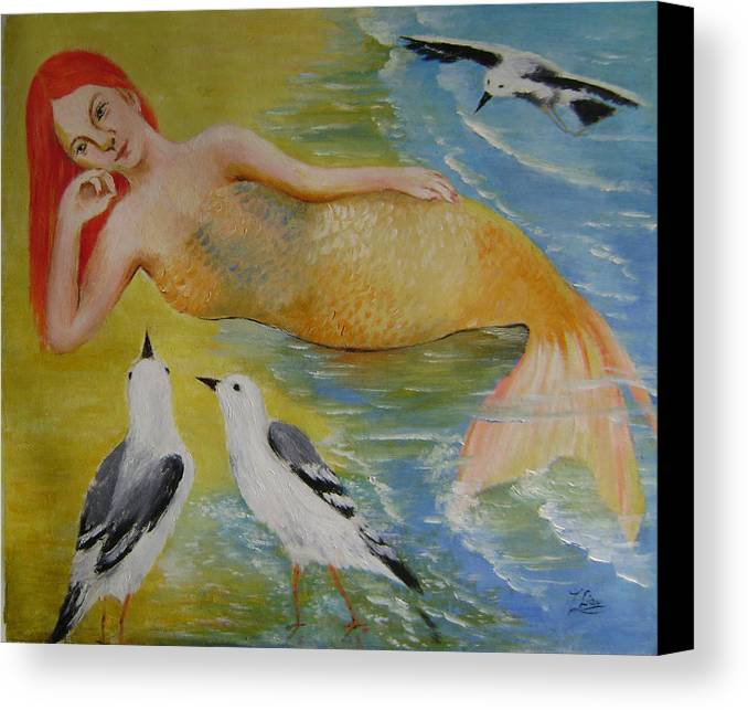 Fantasy Canvas Print featuring the painting Mermaid And Seagulls by Lian Zhen