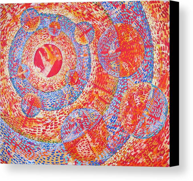 Pointillism Canvas Print featuring the painting Microcosm Xviii by Rollin Kocsis