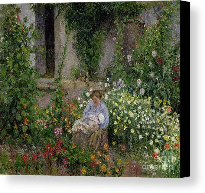 Mother Canvas Print featuring the painting Mother And Child In The Flowers by Camille Pissarro