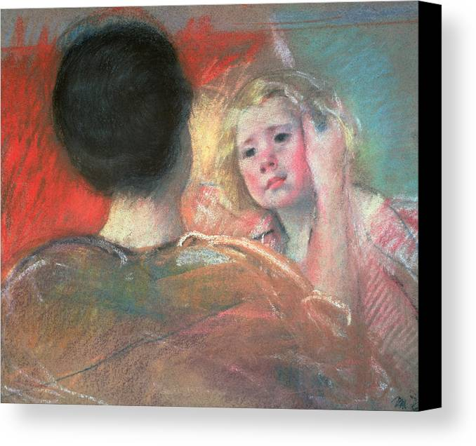Mother Canvas Print featuring the painting Mother Combing Sara's Hair by Mary Stevenson Cassatt
