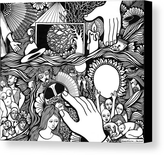 Drawing Canvas Print featuring the drawing My God And I That Have No Charity by Jose Alberto Gomes Pereira