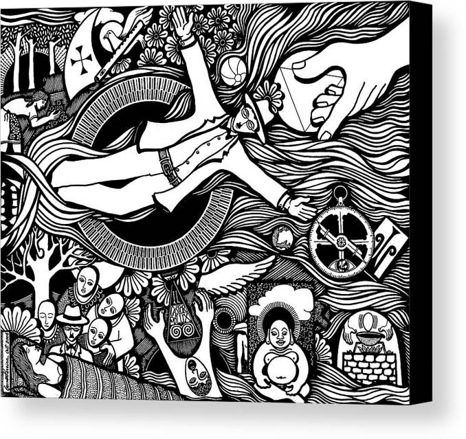 Drawing Canvas Print featuring the drawing Oh Universe I Am Yours by Jose Alberto Gomes Pereira
