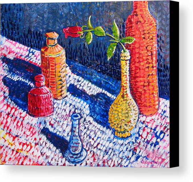 Still Life Canvas Print featuring the painting One Rose by Rollin Kocsis