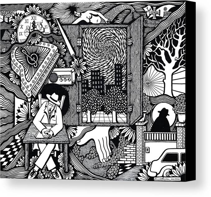 Drawing Canvas Print featuring the drawing Only I Keep Watch Sleepy Listening by Jose Alberto Gomes Pereira