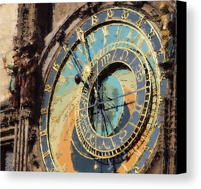 Prague Canvas Print featuring the painting Praha Orloj by Shawn Wallwork