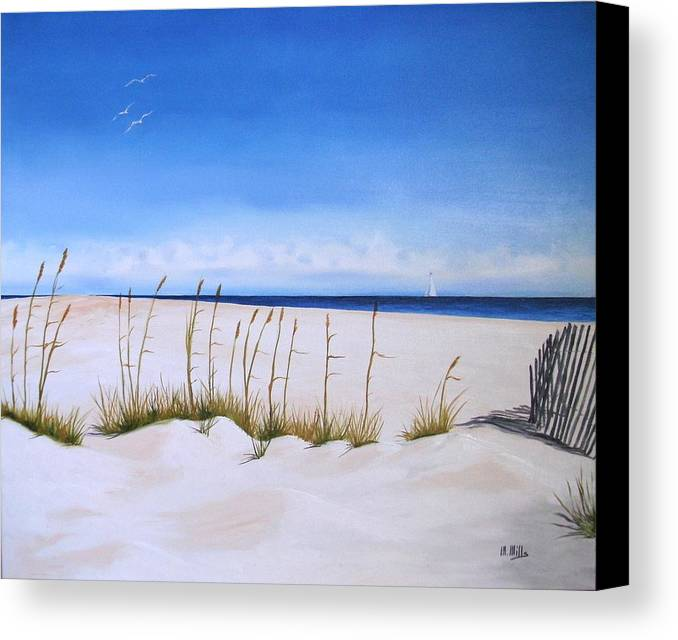 Beach Canvas Print featuring the painting Seaoats by Maria Mills