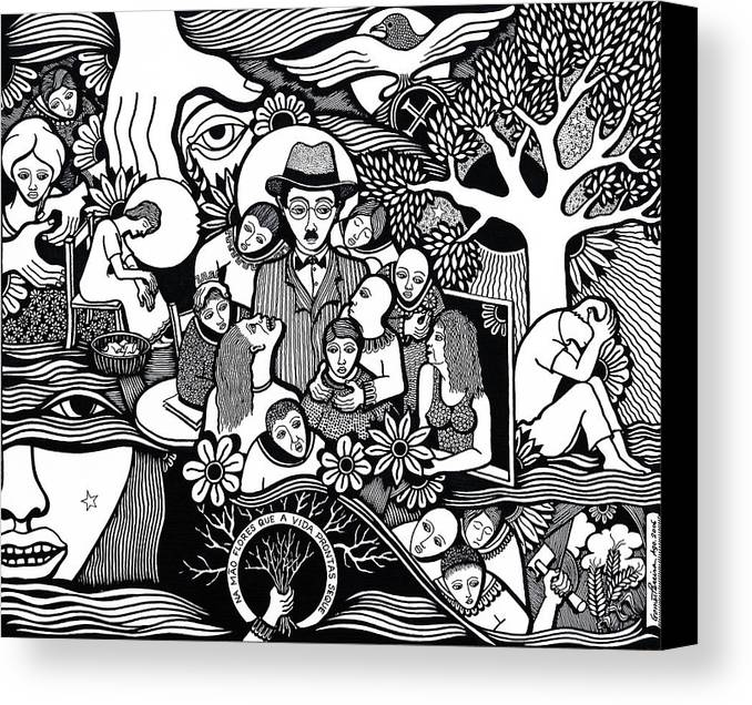 Drawing Canvas Print featuring the drawing Sleep Not To Have Desire Nor Hope by Jose Alberto Gomes Pereira
