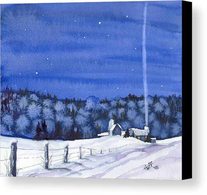 Winter Canvas Print featuring the painting Snow In Moonlight by Denise  Hoff