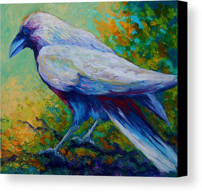 Crows Canvas Print featuring the painting Spirit Raven by Marion Rose
