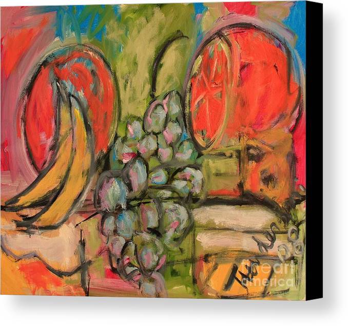 Stil Life Canvas Print featuring the painting Still Life With Big Orange by Michael Henderson