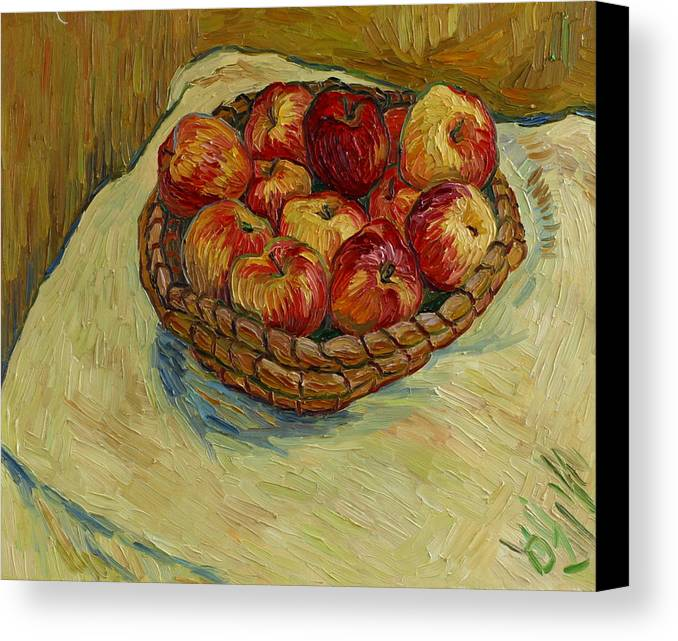 Still Life Canvas Print featuring the painting Still Life With Moravian Apples by Vitali Komarov