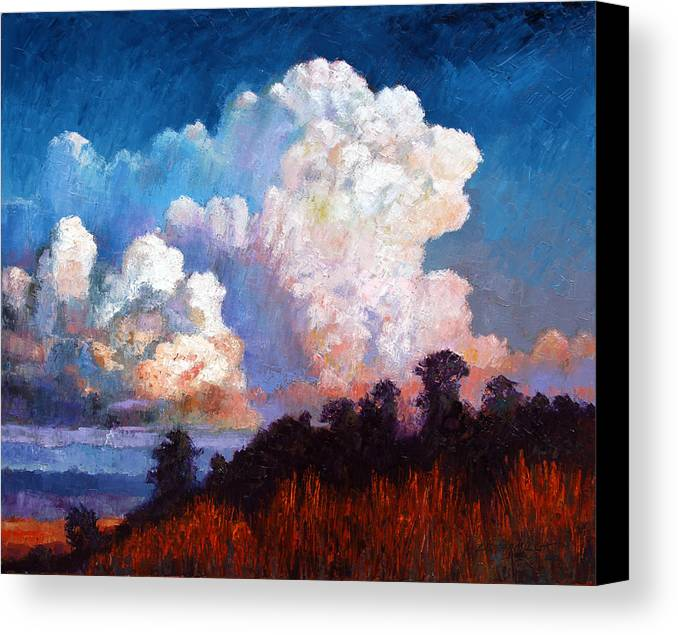 Clouds Canvas Print featuring the painting Storm Rolling In by John Lautermilch