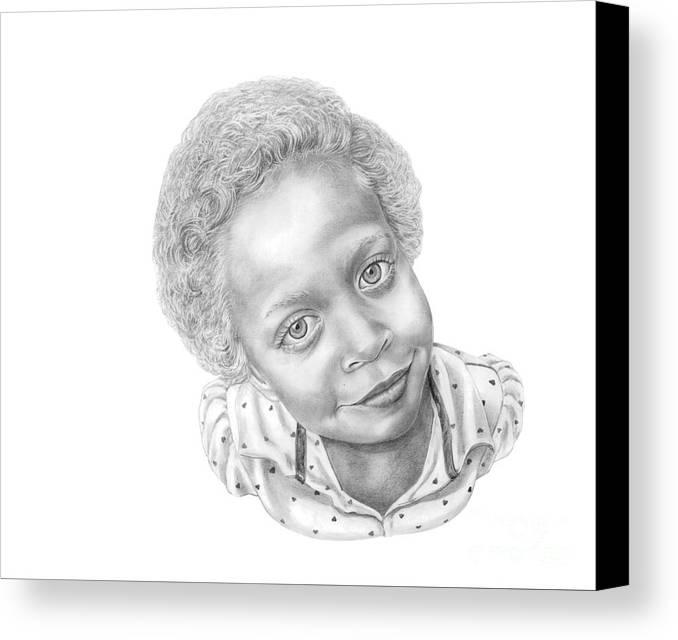 Portrait Canvas Print featuring the drawing Sweet Eyes by Murphy Elliott