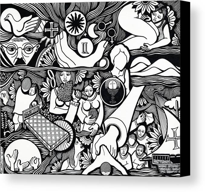 Drawing Canvas Print featuring the drawing Symbols I Am Sick Of Symbols by Jose Alberto Gomes Pereira