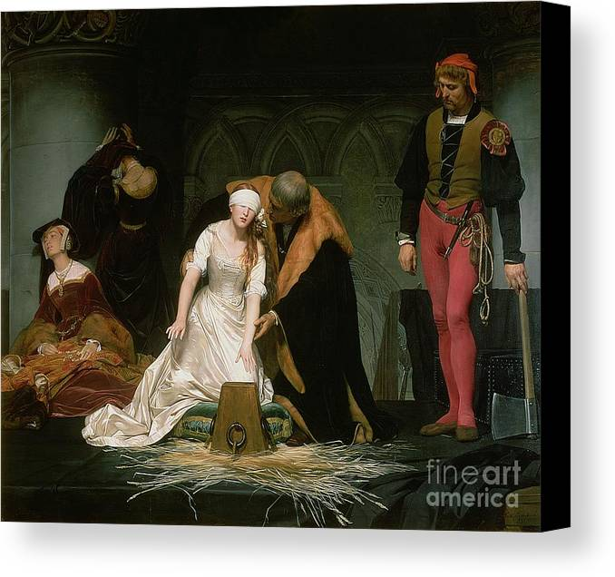Execution Canvas Print featuring the painting The Execution Of Lady Jane Grey by Hippolyte Delaroche