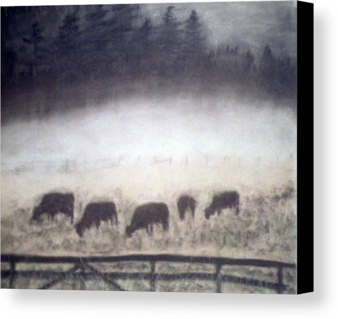 Landscape Canvas Print featuring the painting The Grazers by Jack Spath