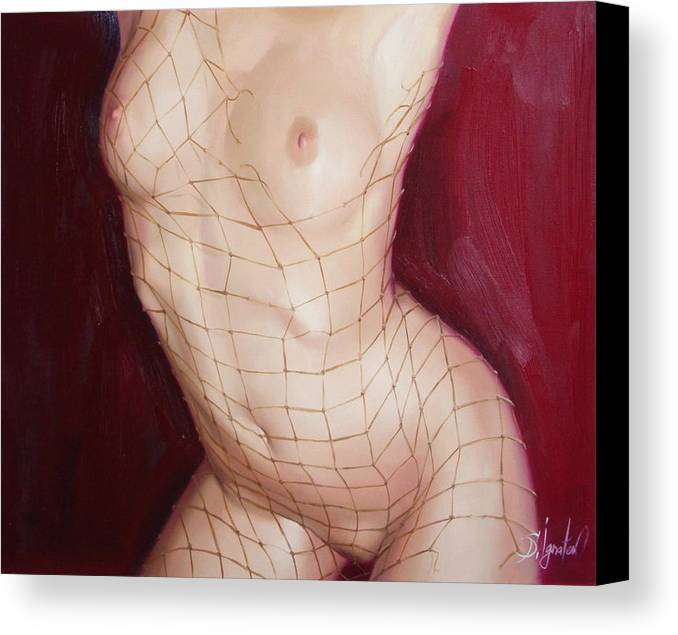 Art Canvas Print featuring the painting The Love In Net by Sergey Ignatenko